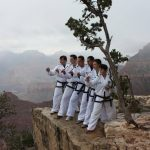 Six people in Taekwon-Do uniforms posing in a stance on the edge of the Grand Canyon.