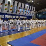 Large group of Taekwon-Do students standing in rows.