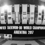 "Empty stadium with many country flags hanging above hung letters that spell ""Unified Taekwon-Do World Championships Argentina 2017"""