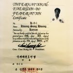 International Taekwon-Do Federation Certificate for Grand Master Kwang Sung Hwang, K-9-1