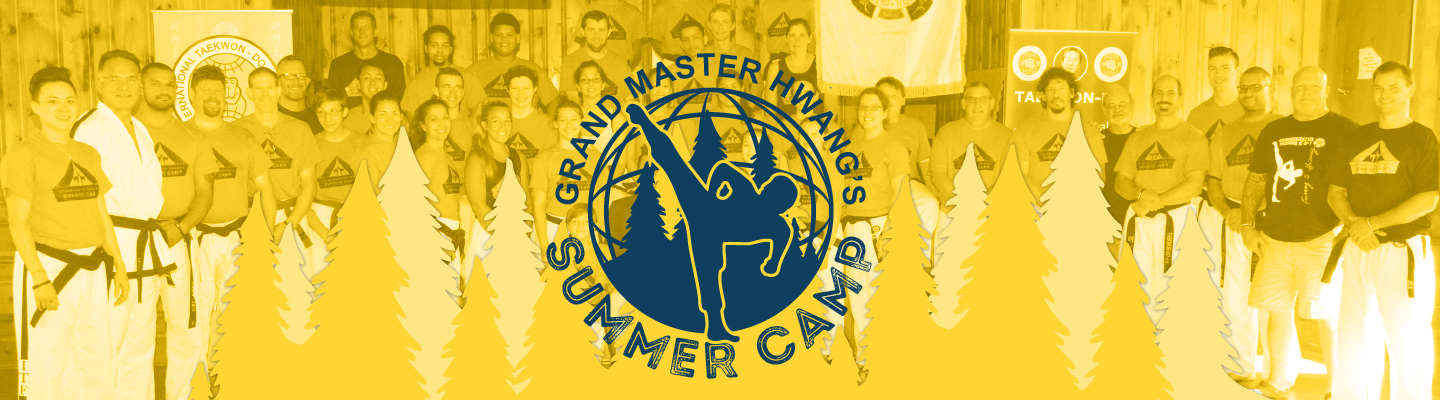 Group photo of campers with Grand Master Hwang's Training Camp logo written over top.